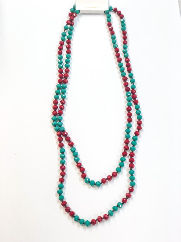 60 Inch Long 8mm Layering Crystal Strand Necklace in Red and Turquoise