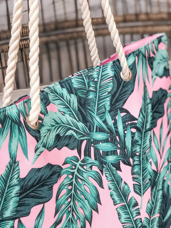 Green Palm Leaf Tote Bag with Rope Straps in Pink
