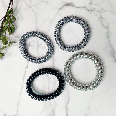 Set of Four | Hold On Tight Spiral Scrunchies in Snow Leopard