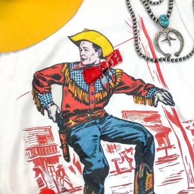 Quick Draw Cowboy Graphic Tee with Bandanna in White