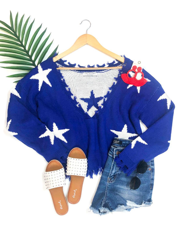 Super Star Power Crop Star Print Sweater with Frayed Edges in Royal Blue