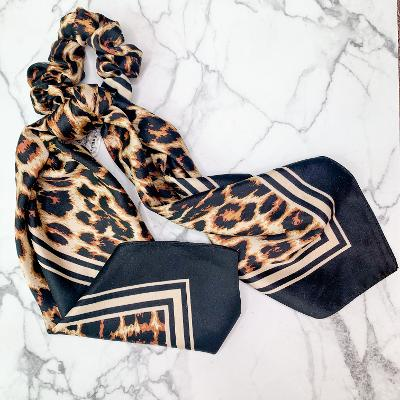 All the Details Hair Scrunchie with Scarf in Leopard