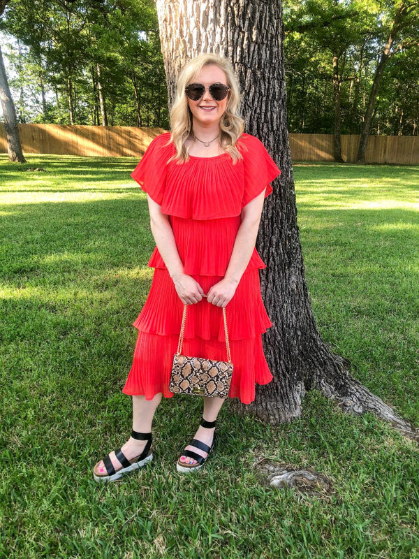 Take My Hand Off the Shoulder Ruffle Tiered Dress in Red