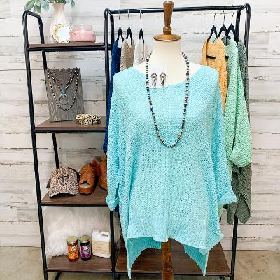 With All My Heart Oversized Knit Sweater in Aqua Blue