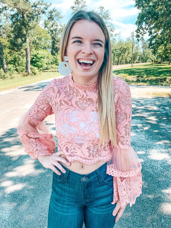 I'm All In Floral Lace Crop Top with Bell Sleeves in Blush Pink