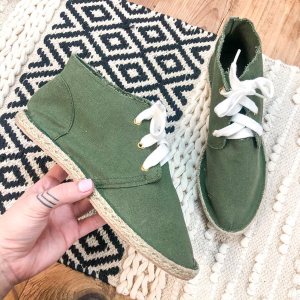 Cool and Easy Canvas Lace Up Espadrille in Olive Green - Size 6, 7 - FURTHER MARKDOWN