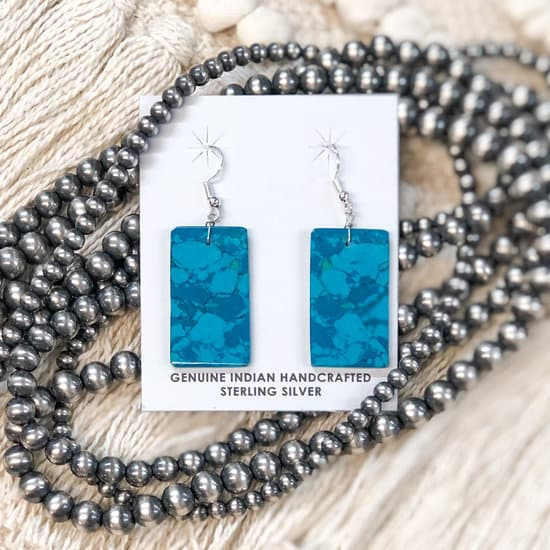 Corraine Smith | Turquoise Rectangle Slab Earrings in Deep Teal