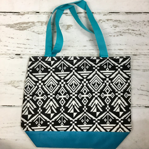 Blue, Black, and White Aztec Tote Bag