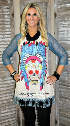 Chief of Skulls Ivory Tunic Dress with Blue Lace Sleeves and Trim