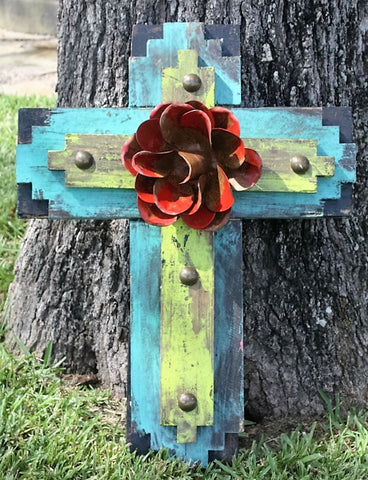 Rustic Handmade Tribal Cross in Black, Turquoise and Lime
