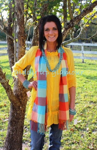 Multi Plaid with Turquoise Coral Yellow Scarf