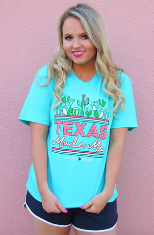 Texas Made Me Cactus Short Sleeve Tee Shirt in Seafoam Turquoise