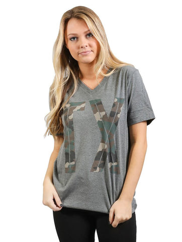 Camo TX State Pride Short Sleeve Grey Tee Shirt