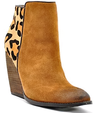 Distressed Tan Leather and Leopard Hair On Hide Ankle Boot, Size 8 ONLY