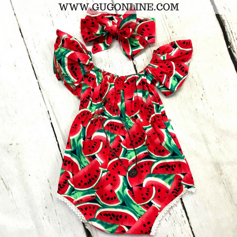 Children's Watermelon Printed Off Shoulder Romper