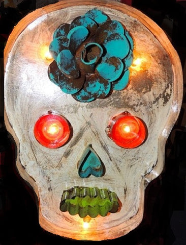 Lighted Rustic Handmade White Sugar Skull