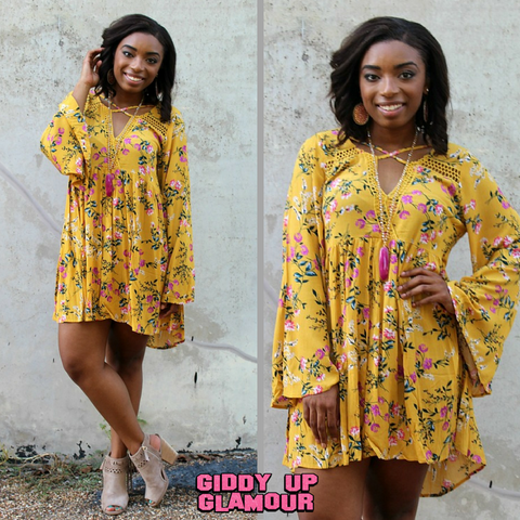 Can't Miss Me Mustard Floral Trapeze Dress