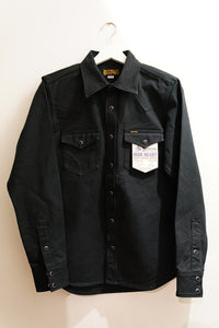 iron heart 13OZ MILITARY SERGE WESTERN SHIRT - BLACK