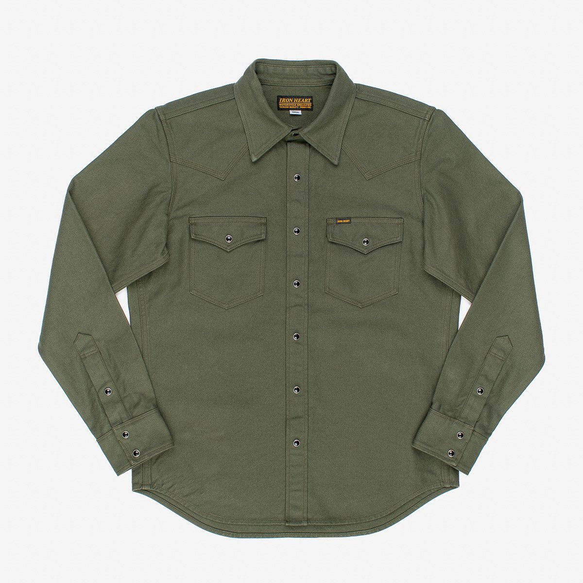 Iron heart 13OZ MILITARY SERGE WESTERN SHIRT - OLIVE