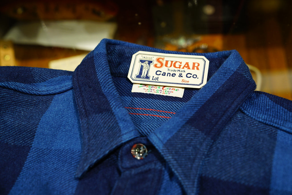 Sugarcane 9oz indigo buffalo check shirt