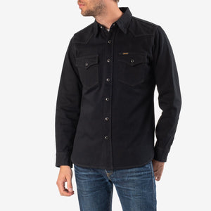 "IHSH-218 iron heart 12OZ SELVEDGE DENIM WESTERN SHIRT ""THE JOHNNY CASH III"" - BLACK"