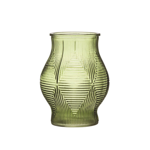 Embossed Green Glass Vase