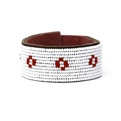 Medium Red Diamond Leather Cuff