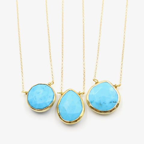 Gold Gemstone Bezel Necklace-Turquoise