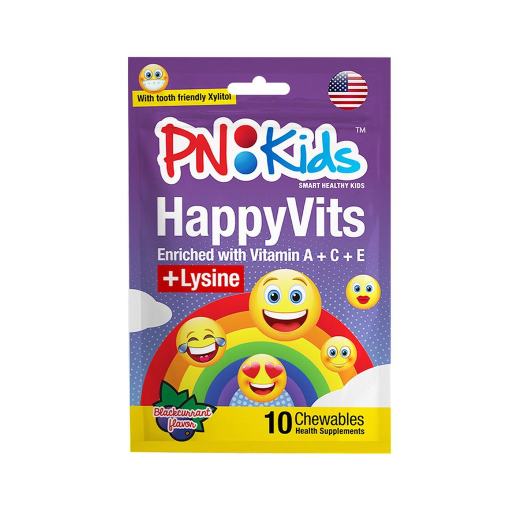 HappyVits Chewable: Vitamin C With Lysine (Blackcurrant) - HealthPasar