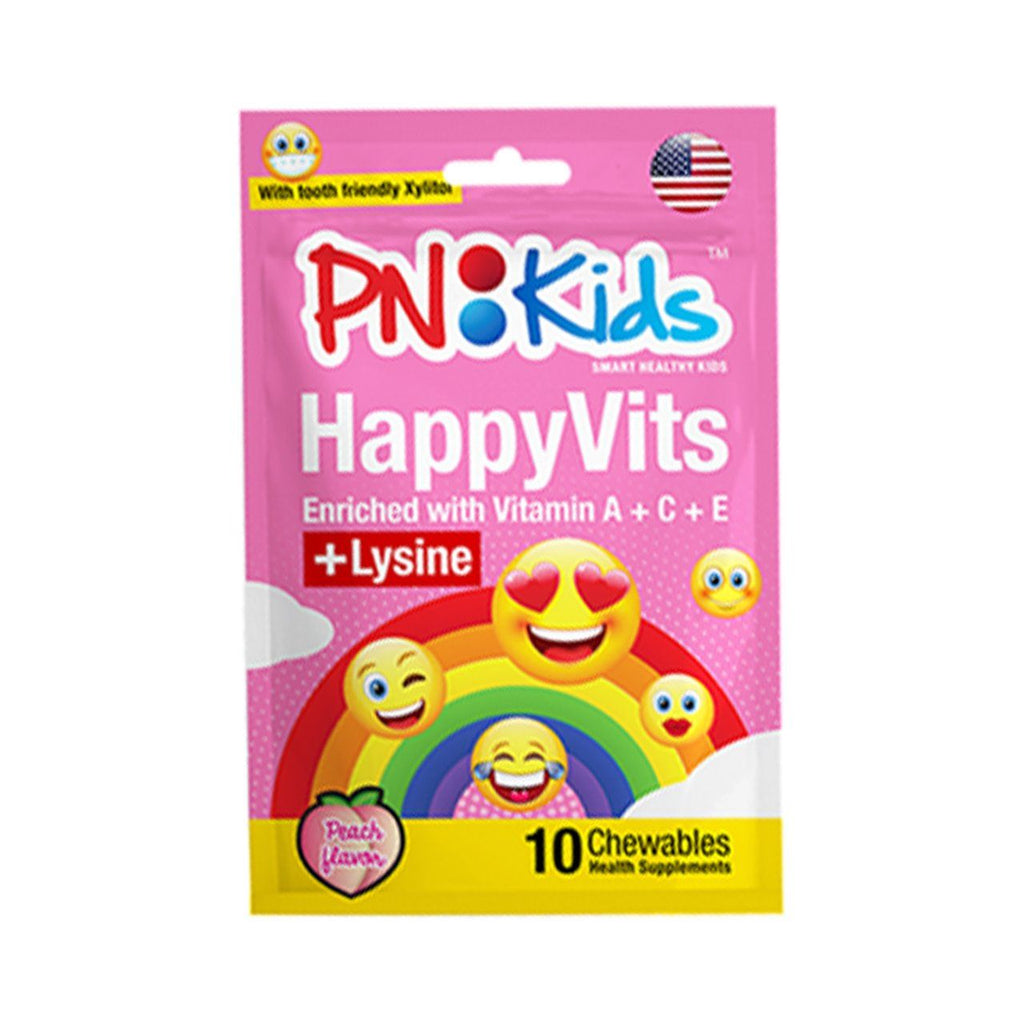 HappyVits Chewable: Vitamin C With Lysine (Peach) - HealthPasar