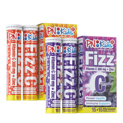 Principle Nutrition PNKids Fizz Immune Plus Effervescent Vitamin C 300mg + Zinc 5mg | 15S + 15S | Orange/Grape