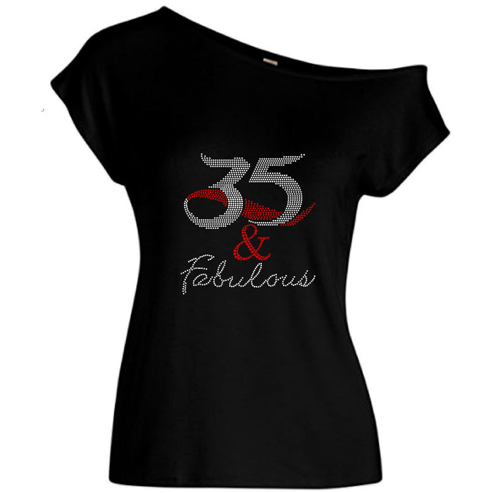 35 And Fabulous Rhinestone Off Shoulder Tee
