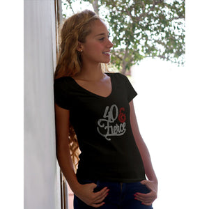 40 And Fierce Rhinestone Black V-Neck T Shirt