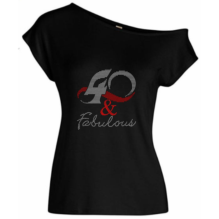 40 and Fabulous Rhinestone Off The Shoulder Tee