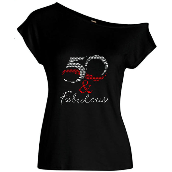 50 And Fabulous Rhinestone Off Shoulder Tee