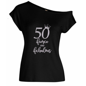 50 Fierce And Fabulous Off Shoulder Birthday T-Shirt