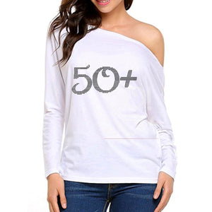 50+ Rhinestone Off The Shoulder White Tee