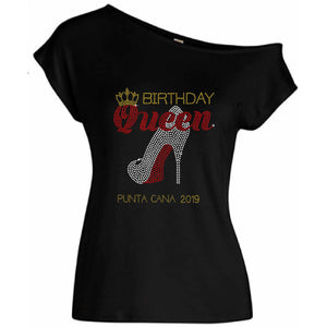 Birthday Queen Personalized City Year Rhinestone T Shirt