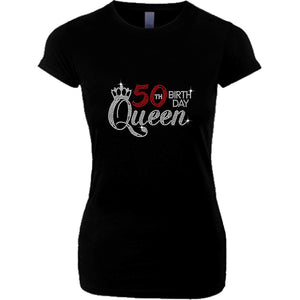 Birth Day Queen Rhinestone T Shirt
