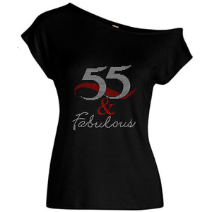 55 And Fabulous Rhinestone Off Shoulder Tee
