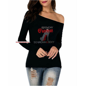 Birthday Queen Rhinestone Stiletto Off Shoulder Tee
