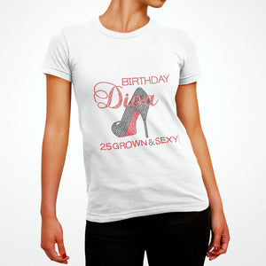 Grown and Sexy Birthday Diva Personalized Rhinestone Tee