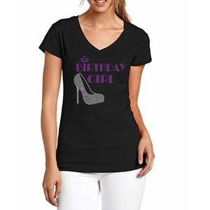 Glitter and Rhinestone Shoe Birthday Girl T Shirt