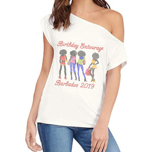 Birthday Afro Girls Entourage Personalized Off Shoulder Tee