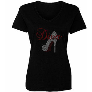 Rhinestone Diva Red Bottom Shoe Stiletto T Shirt