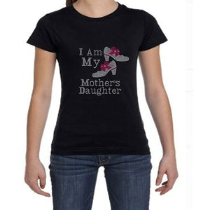 I Am My Mothers Daughter Youth Girls Rhinestone Tee