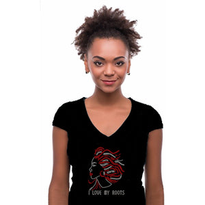 I Love My Roots Rhinestone Afro Girl T Shirt