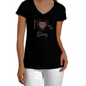 I Love To Sling Rhinestone Heart T-Shirt