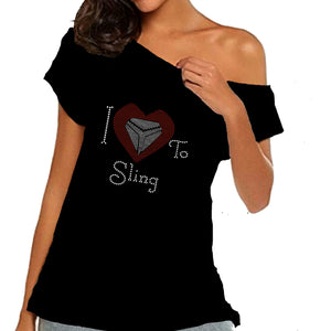 I Love To Sling Rhinestone Heart Off Shoulder Tee