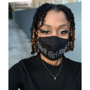 Black Girl Magic Rhinestone Face Mask